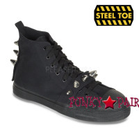 TYRANT-104, Canvas High Top Steel Toe Spiked Sneaker Shoe Made by Demonia