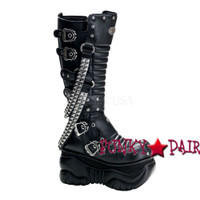 Knee Cyber Boot with Chain and Buckles Detail (Boxer-206)