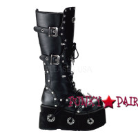 FURIOUS-301, Goth knee high with metal detail,Demonia Gothic