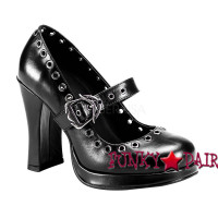 Crypto-05, 4 Inch High Heel Maryjane with Skull Buckles Strap Made by Demonia