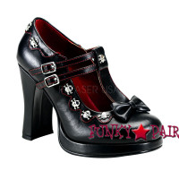 Crypto-06, 4 Inch High Heel Maryjane with Double T-Strap  and Skull Studded Trims Made by Demonia