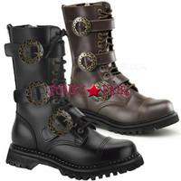 STEAM-12, 1.5 Inch High Heel Steampunk Calf Boots