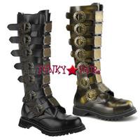 STEAM-30, 1.5 inch Heel Steampunk Metal Plates Boots
