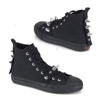 DEVIANT-104, Canvas Spiked High Top Sneaker Made by Demonia