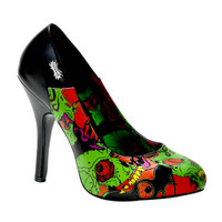 Zombie-04, Goth Pump with Demonia Full Moon Print Made by Demonia