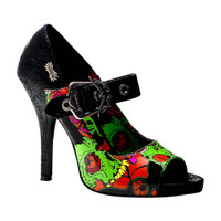Zombie-07, Goth Peep Toe with Zombie Collage Print Made by Demonia