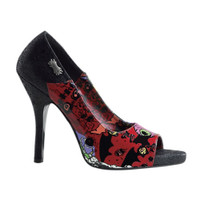 Zombie-10, Goth Print Peep Toe Pump Made by Demonia