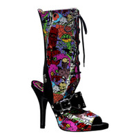 Zombie-103, Peep Toe Lace up Sandal Made by Demonia