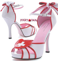 LA453-JACKIE, 4 Inch High Heel Nurse Sandal with accent cross and removable bow Made By LEG AVENUE Costume Shoes