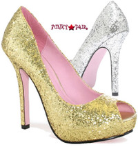 LA517-ELLA, 5 Inch High Heel with 1 Inch Platform Open Toe Glitter Pump Made by LEG AVENUE Costume Shoes