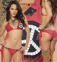 9004, Red Peace Sign Bikini Set