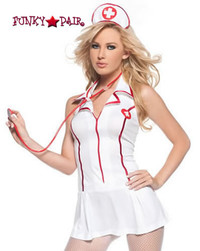 M7023, Sweet Heart Nurse costume includes, a zip-front dress, headpiece and stethoscope