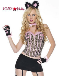 M7022, Sexy Kitty costume includes a bustier, velvet skirt, headpiece, choker, gloves, and tail
