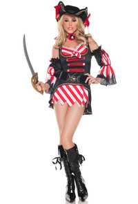 M0045, 7 Seas Pirate costume includes a dress, belt, sleeves and neckpiece ( hat sold separately)