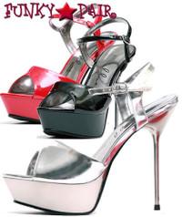 567-Juliet, 5 Inch Metallic Stiletto High Heel with 3/4 Inch Platform Sandal Made by ELLIE Shoes