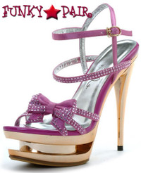 603-Tess, 6 Inch Stiletto High Heel with 1.75 Inch Platform with Bow Made by ELLIE Shoes