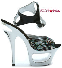 604-Xena, 6 Inch Stiletto High Heel with 1.75 Inch Rhinestone Plaftform Shoes Made by ELLIE Shoes