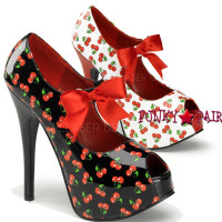 Teeze-25-3, 5.75 Inch High Heel with 1.75 Inch Platform Pump with Cherries Print