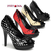 Pleasure-10, 5.25 Inch High Heel Platform Peep Toe Pump with Lace Trim