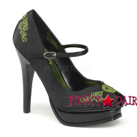 Pleasure-12, 5.25 Inch High Heel Platform Peep Toe Pump with Embroidery Detail Made By Pinup Couture