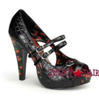 Bettie-08, 4.5 Inch High Heel Open Toe Tri-Strap Pump Made By Pinup Couture