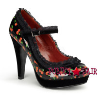 Bettie-16, 4.5 Inch High Heel with 1 Inch Platform Mary Jane Platform with Lace Trim Made By Pinup Couture