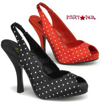 Cutiepie-03, 4.5 Inch High Heel with 3/4 Inch Platform Peep Toe Slingback Sandal Made By Pinup Couture