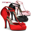 Cutiepie-12, 4.5 Inch High Heel with 3/4 Inch Platform T-Strap D'Orsay Pump Made By Pinup Couture
