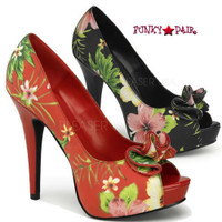 Lolita-11, 5 Inch Heel Floral Peep Toe Pump with Ruffle Detail