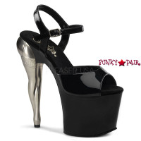 Vixen-709, 7.5 Inch High Heel with 3.5 inch Platform Ankle Strap Sculpted Legs in Stocking Heel Sandal