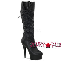 Delight-2007, 6 inch high heel with 1.75 inch platform Knee High Boots with Ribbon on Side