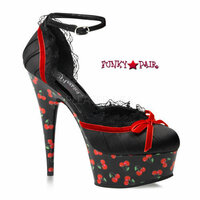 Motif-676CH, 6 Inch High Heel with 1.75 Inch Platform Cherry Print Ankle Strap Pump
