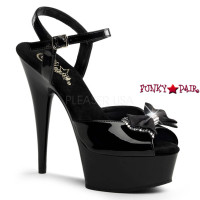Delight-616, 6 Inch High Heel with 1.75 inch Platform Ankle Strap with Rhinestones Satin Bow Sandal