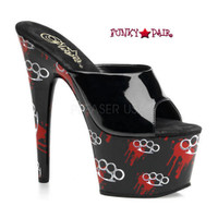 Motif-701BK, 7 Inch High Heel with 2.75 Inch Platform SLide Brass Knuckle Print