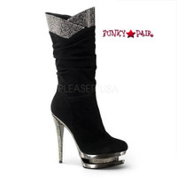 Fascinate-1019, 6 Inch Stiletto Heel Scrunch Mid Calf Boot * Fascinate-1019 * Made by PLEASER Shoes