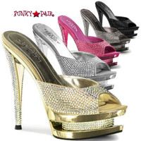 Fascinate-601DM, 6 Inch High Heel with 1.5 Inch Platform Slide with Rhinestones