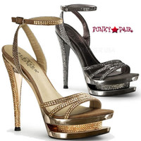 Fascinate-637DM, 6 Inch High Heel with 1.5 Inch Platform Ankle Strap Sandal