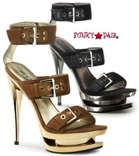 Fascinate-652, 6 Inch Stiletto Heel with 1.5 Inch Dual platform Double Buckles Strap Sandal