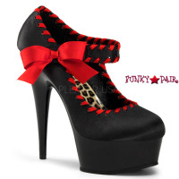 Delight-684, 6 inch high heel with 1.75 inch platform Two Tone Mary Jane Pump with Satin Bow