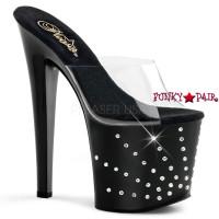 Starburst-751, 7.5 inch high heel with 3.5 inch platform slide Starburst Rhinestones