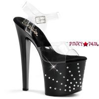 Starburst-758, 7.5 inch high heel with 3.5 inch platform Rhinestones Starburst Ankle Strap Sandal