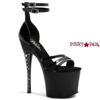 Diamond-770, 7 inch stiletto heel with 3.25 inch platform with Rhinestones Heel Sandal with Multi Straps Closed Back