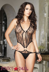 Lace O-ring Side Tie Teddy * 81322