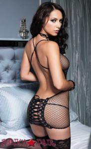 Lace up Back Industrial Net Dress * 86350