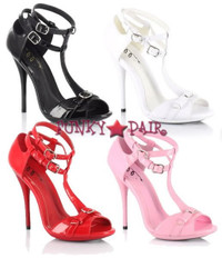 459-Jayla, 4 Inch High Heel T-Strap Sandal Made By ELLIE Shoes