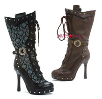 441-Beth, 4.5 Inch High Heel calf boot with a buckle and lace up (no zipper)