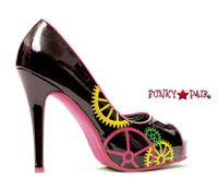 451-Cindy, Peep Toe Pump with Gear Print Made By ELLIE Shoes