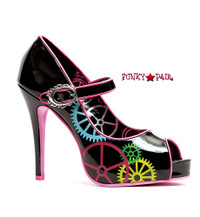 451-Gear,  4 Inch High Heel Peep Toe Pump with Gear Print Made By ELLIE Shoes