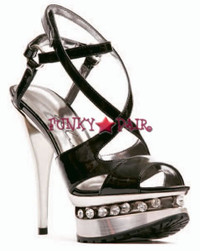 527-Daria, 5 Inch High Heel with 1 Inch Platform Strappy Sandal with Rhinestones in platform Made by ELLIE Shoes