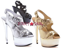 609-Python, 6 InchHigh Heel with 1.75 Inch Platform stiletto heel with multi buckles quilt sandal Made by ELLIE Shoes